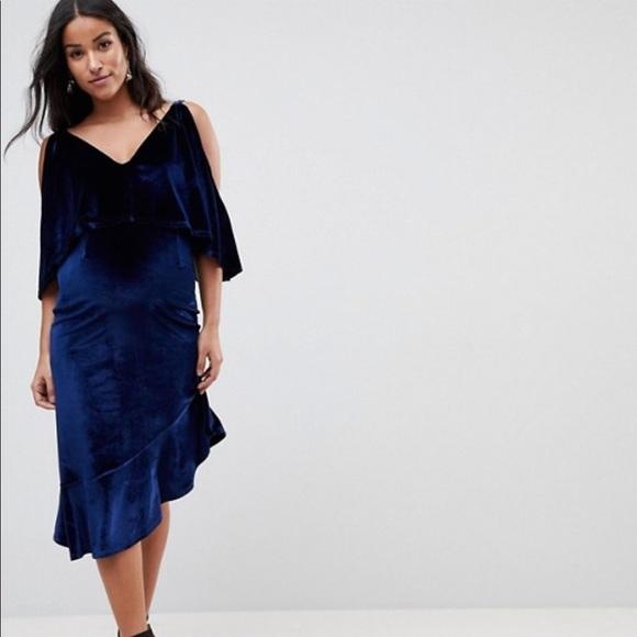 bbab290360 ASOS MATERNITY Velvet Midi Dress  Asymmetric Hem